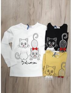 Camiseta gatos lazo