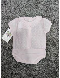 Body camisa plumeti rosa bebe