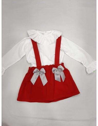Conjunto falda tirantes y blusa