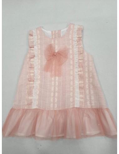 Vestido bebe rosa empolvado talle largo